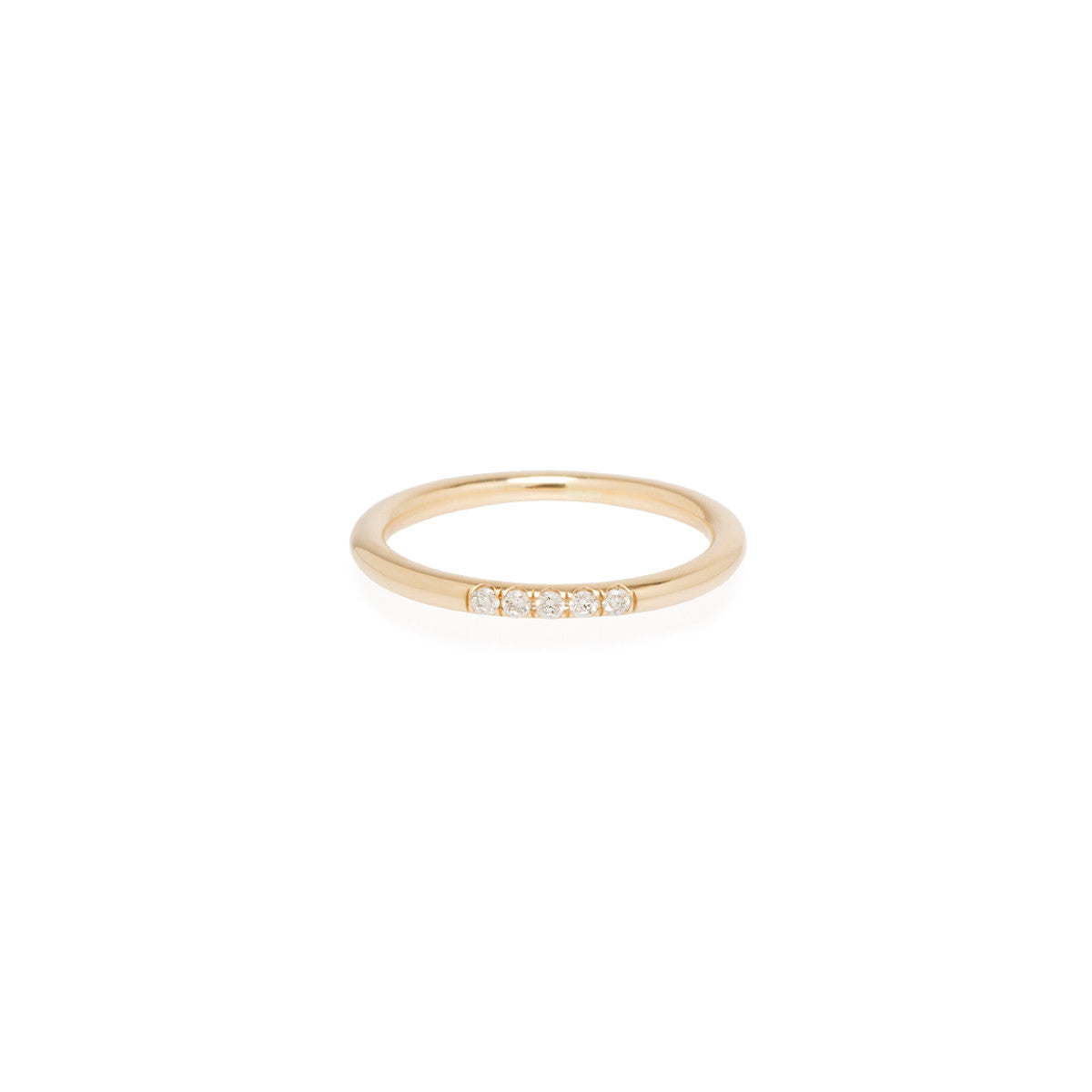 Zoë Chicco 14kt Yellow Gold 5 White Diamond Pave Band Ring