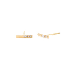 14k off-set pave white diamond bar studs