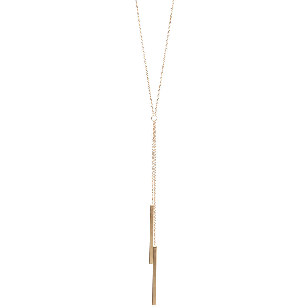 14k two bar lariat necklace