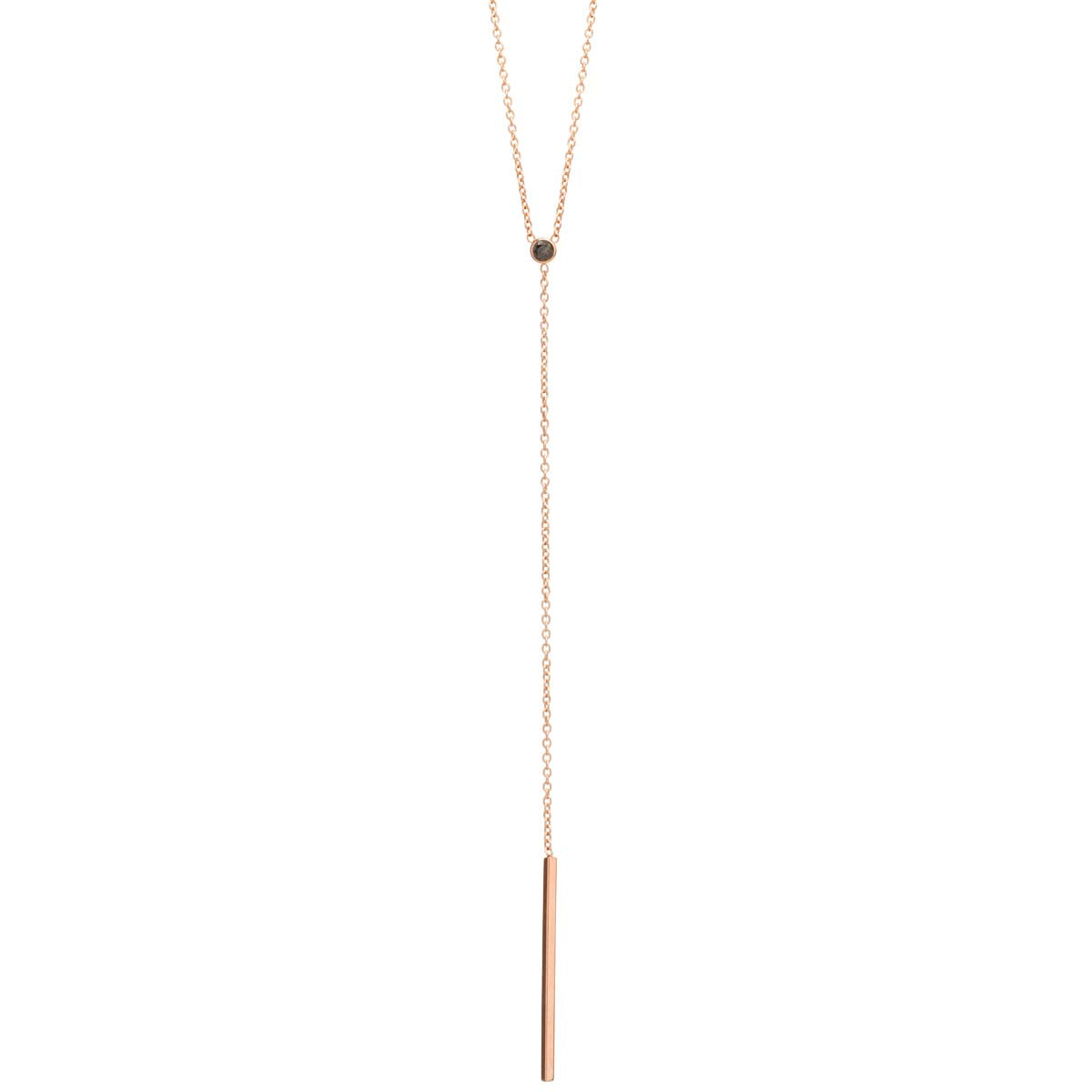 Zoë Chicco 14kt Yellow Gold Black Diamond Bar Lariat Necklace