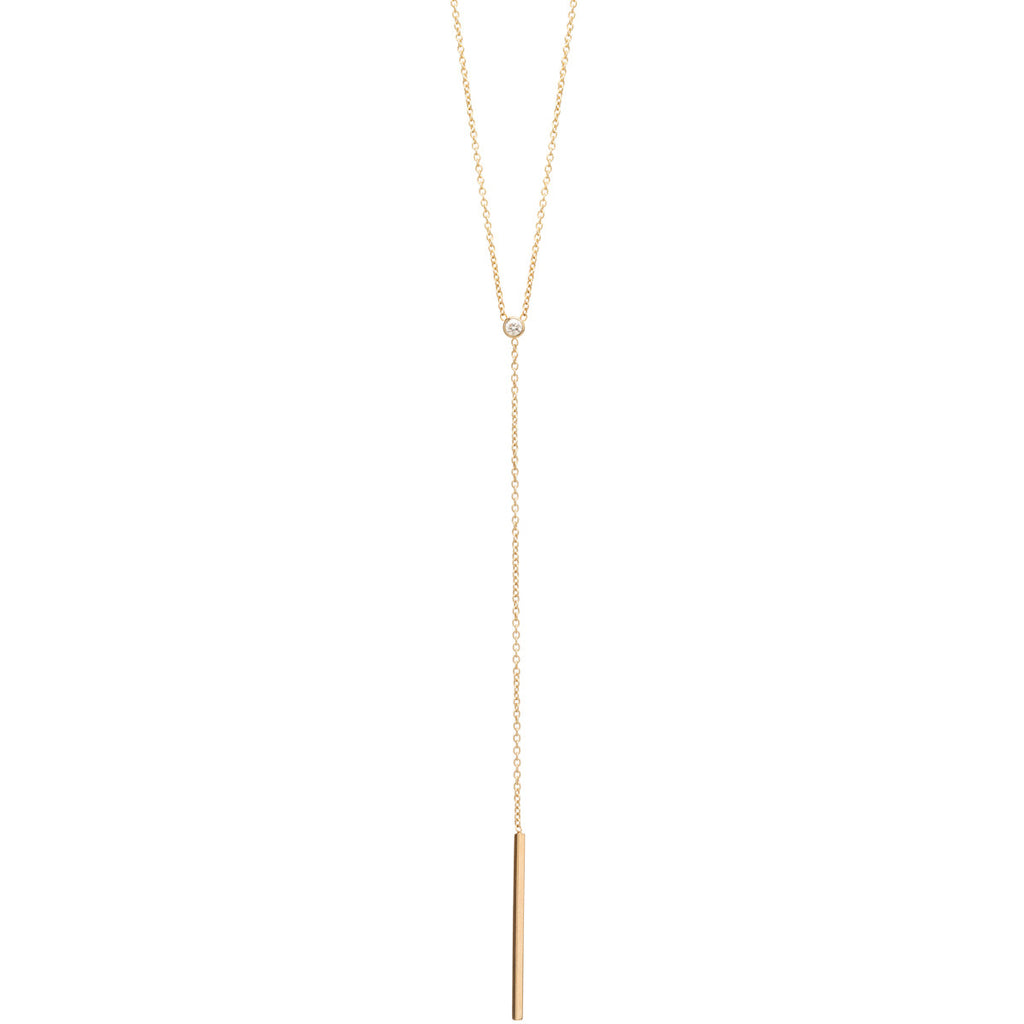 Zoë Chicco 14kt Yellow Gold White Diamond Bar Lariat Necklace