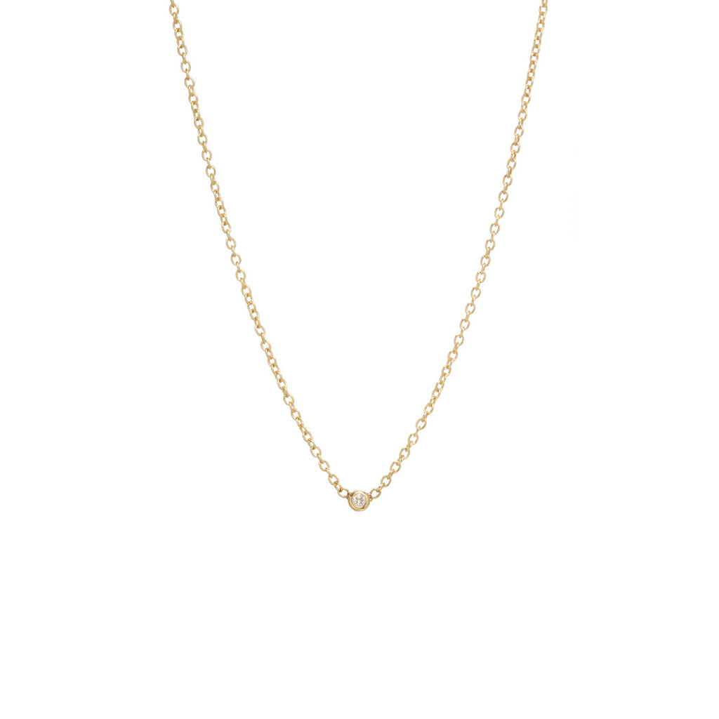 14k single tiny diamond necklace