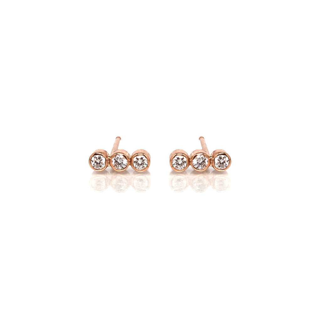 Zoë Chicco 14kt Yellow Gold 3 Bezel Set Straight White Diamond Stud Earring