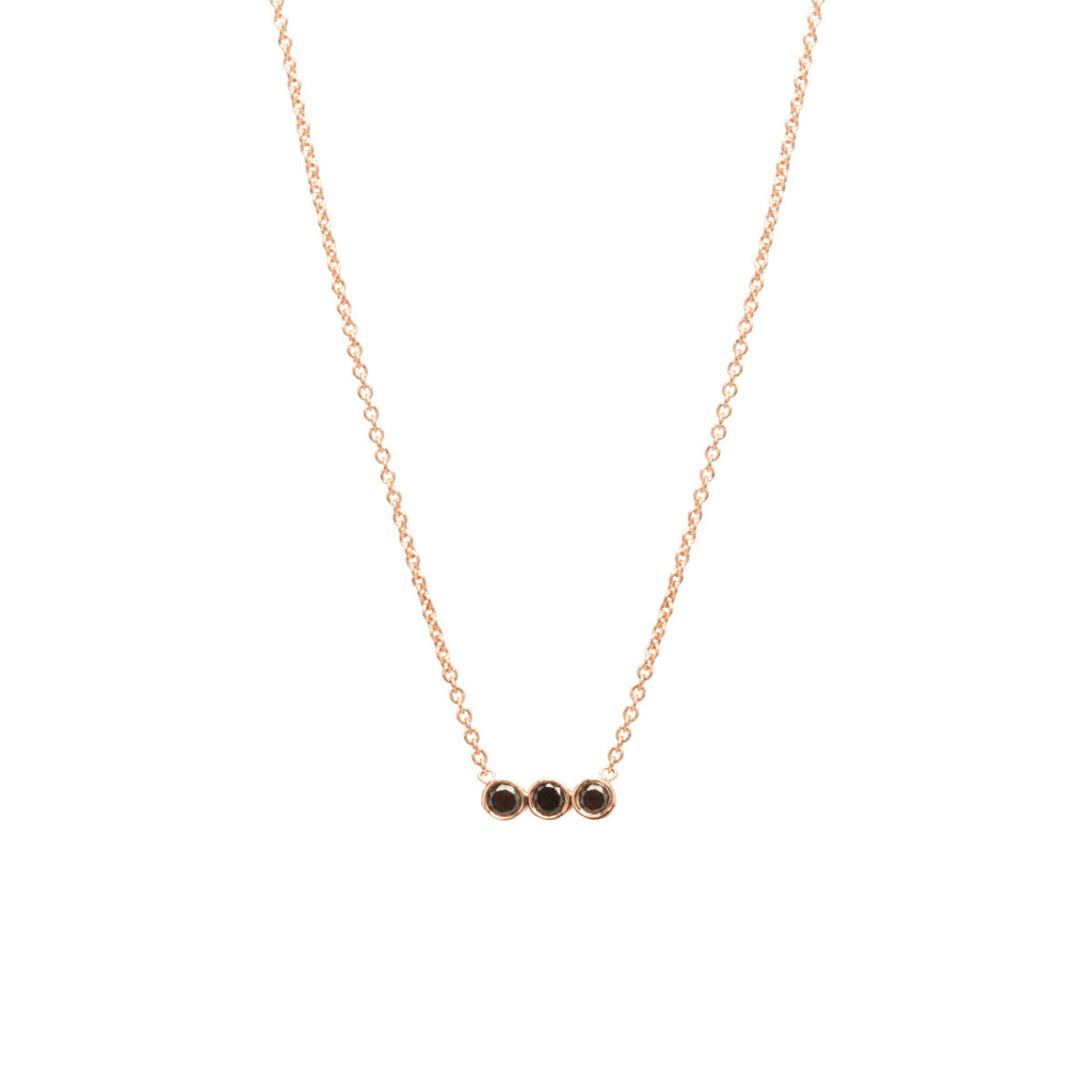 Zoë Chicco 14kt Rose Gold 3 Horizontal Bezel Black Diamond Necklace
