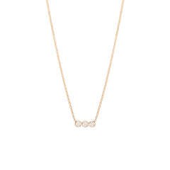 14k 3 horizontal bezel diamond necklace