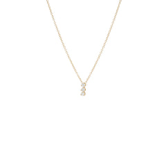 14k 3 vertical prong diamond necklace