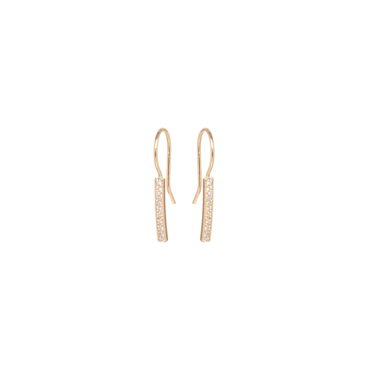 Zoë Chicco 14kt Yellow Gold Small Pave Bar Earrings