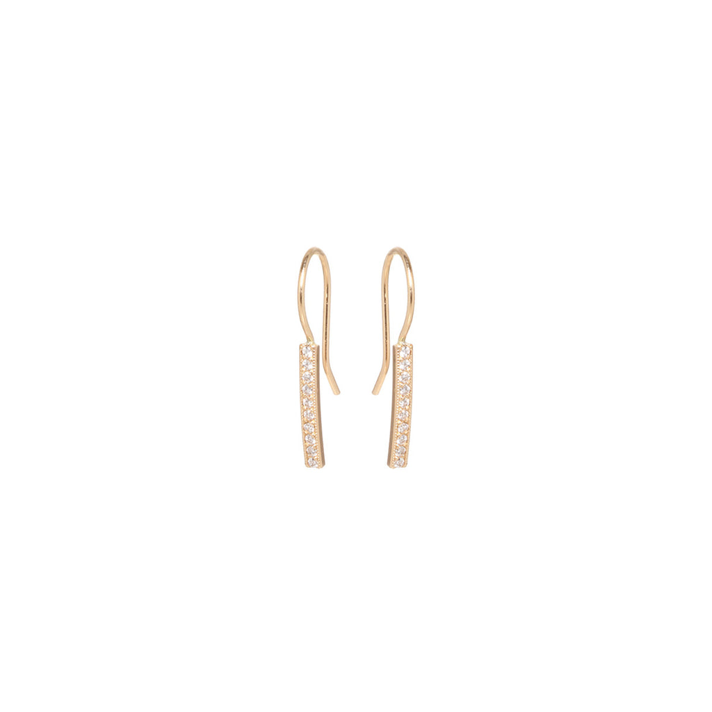 14k small pave bar earrings