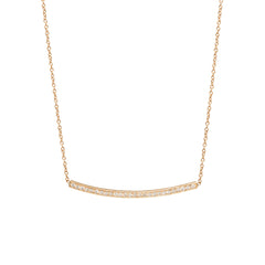 14k pave small curved bar necklace