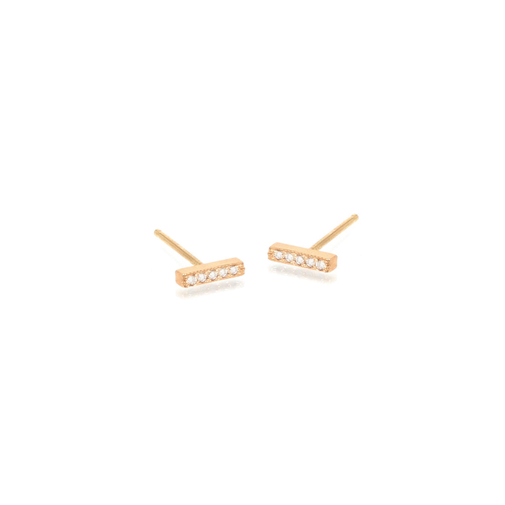 14k very short pave bar studs