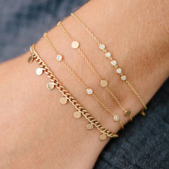 14k 5 floating diamonds bracelet