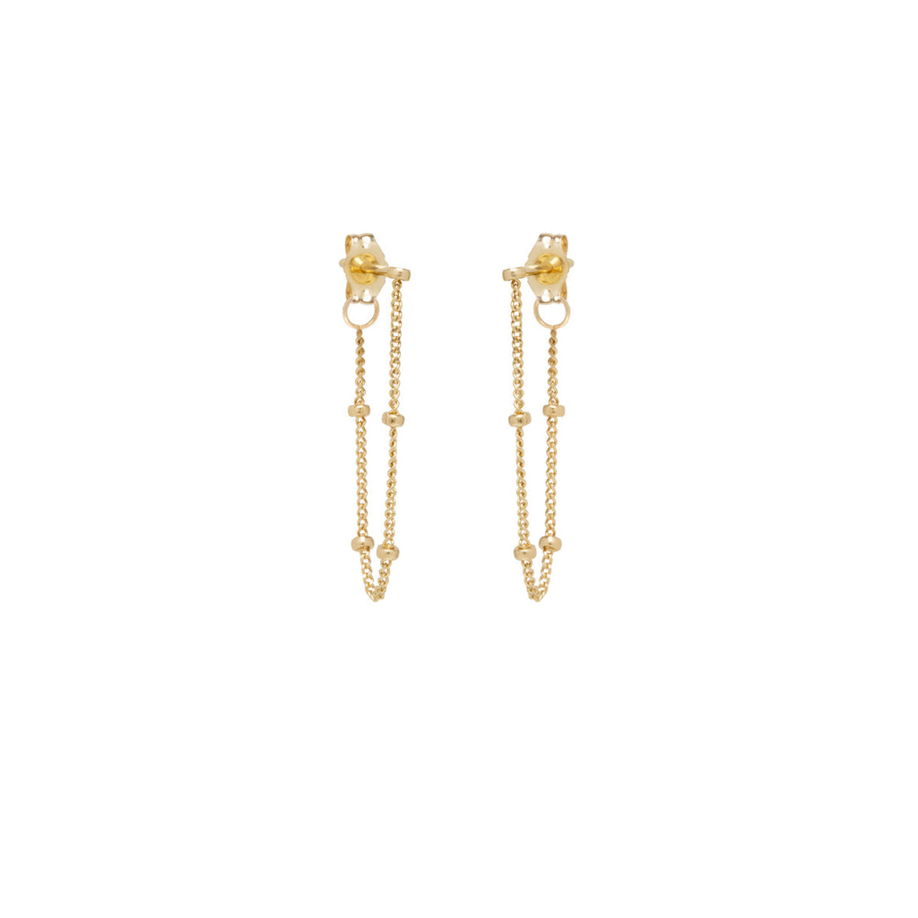 14k satellite chain to back earrings