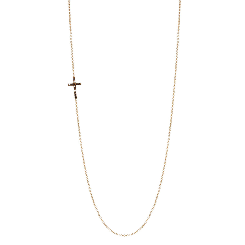 14k black pave long cross necklace