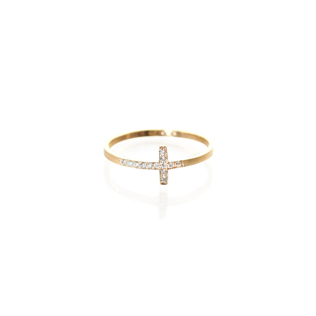 14k small pave cross ring
