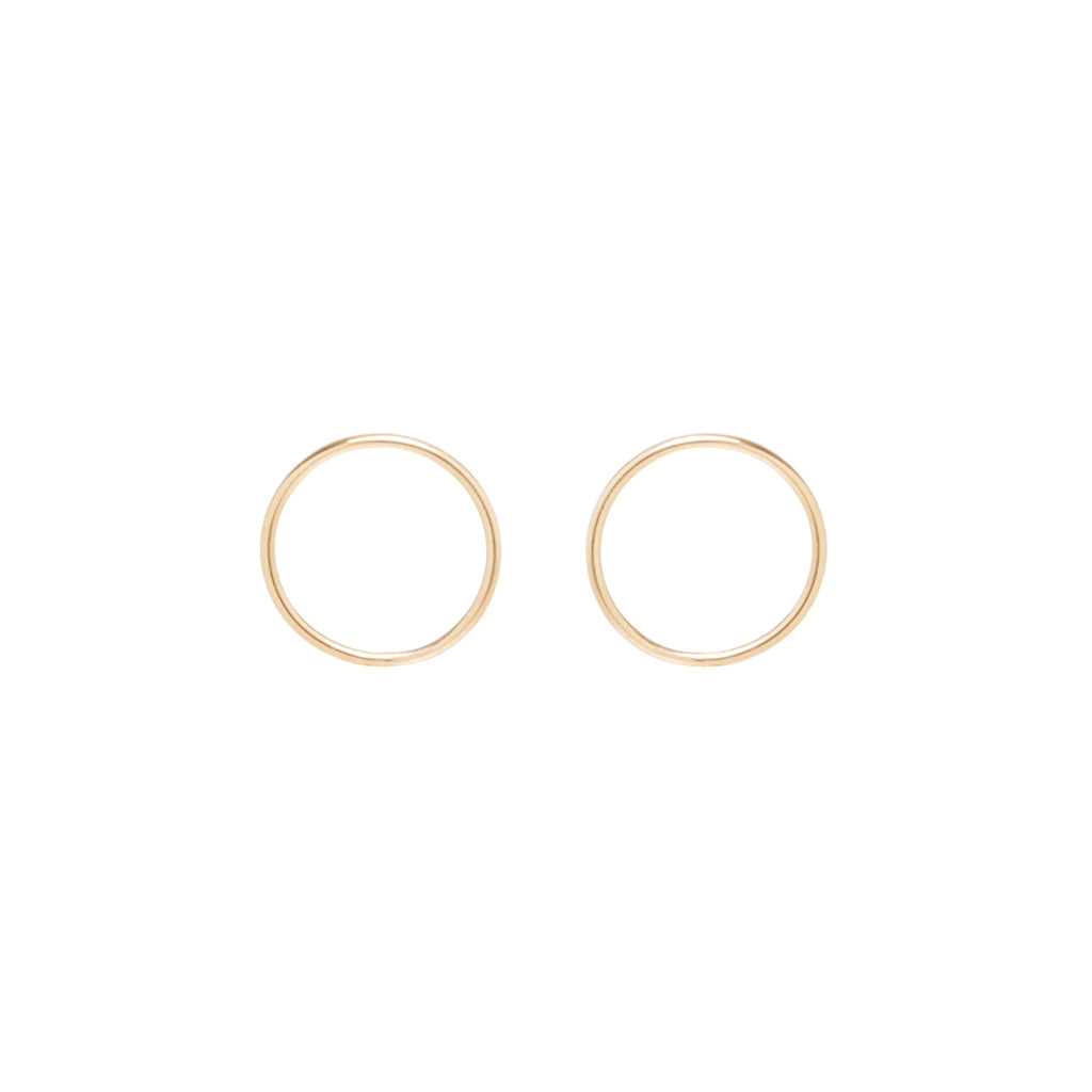 14k small circle post earrings