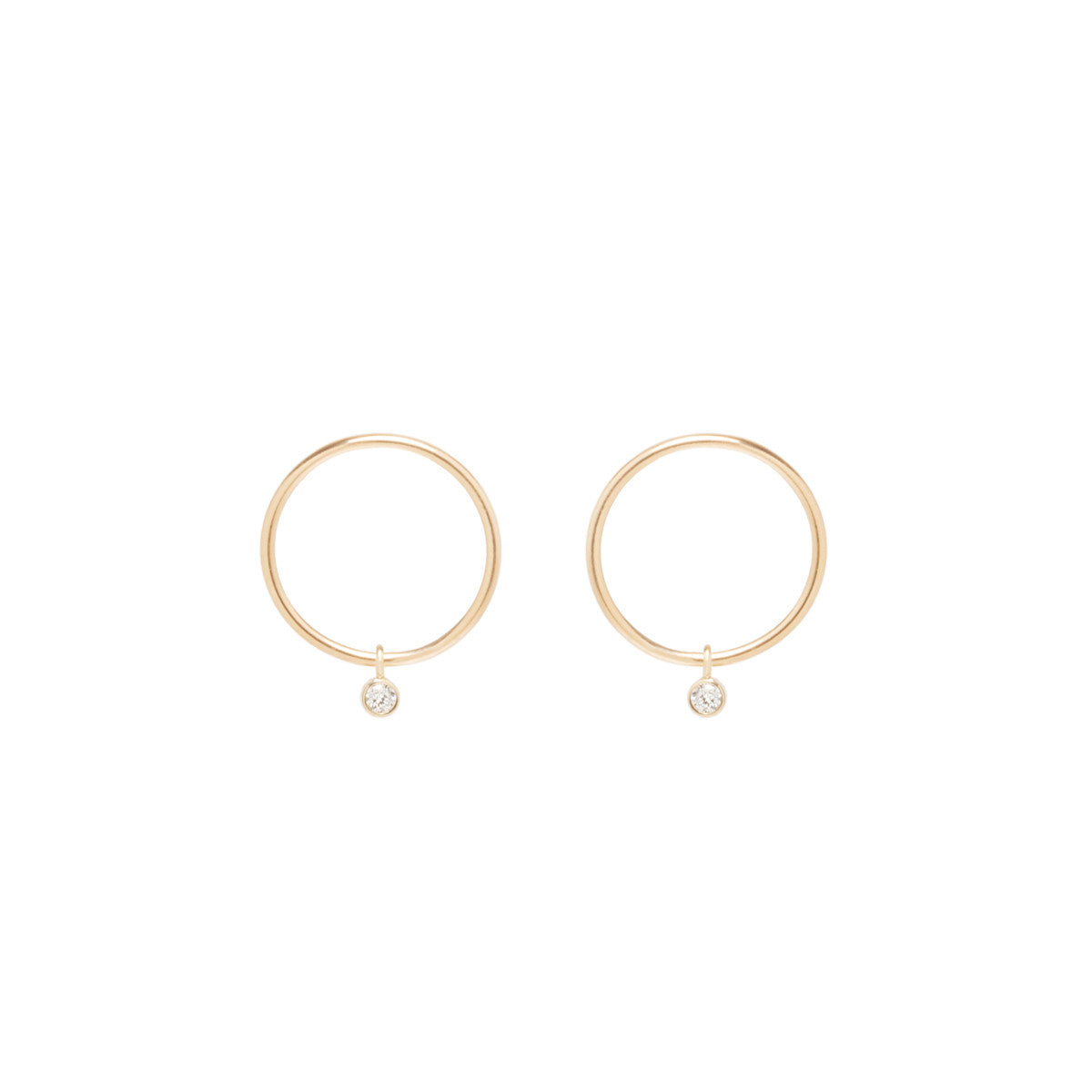 Zoë Chicco 14kt Yellow Gold Dangling Bezel Diamond Small Circle Stud Earrings