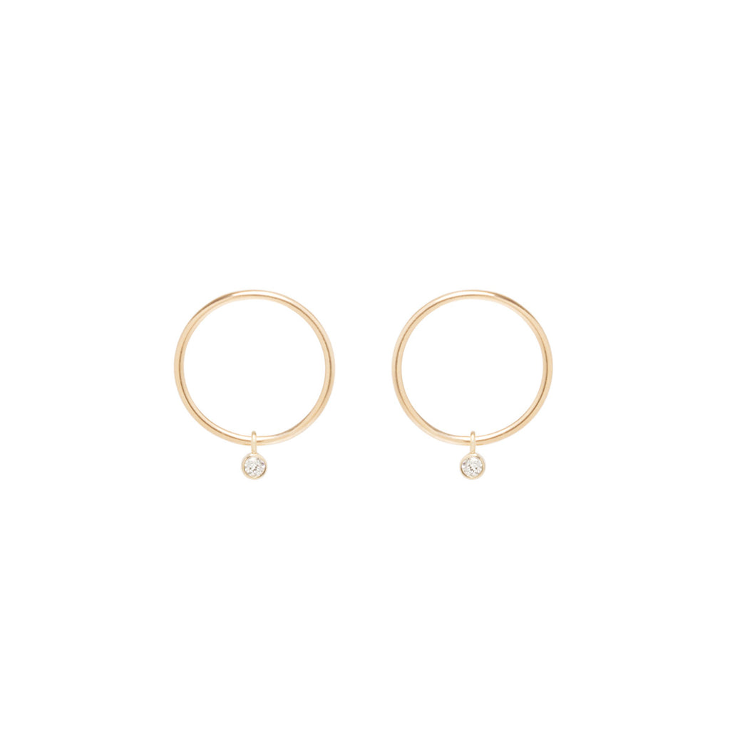14k dangling bezel diamond small circle studs