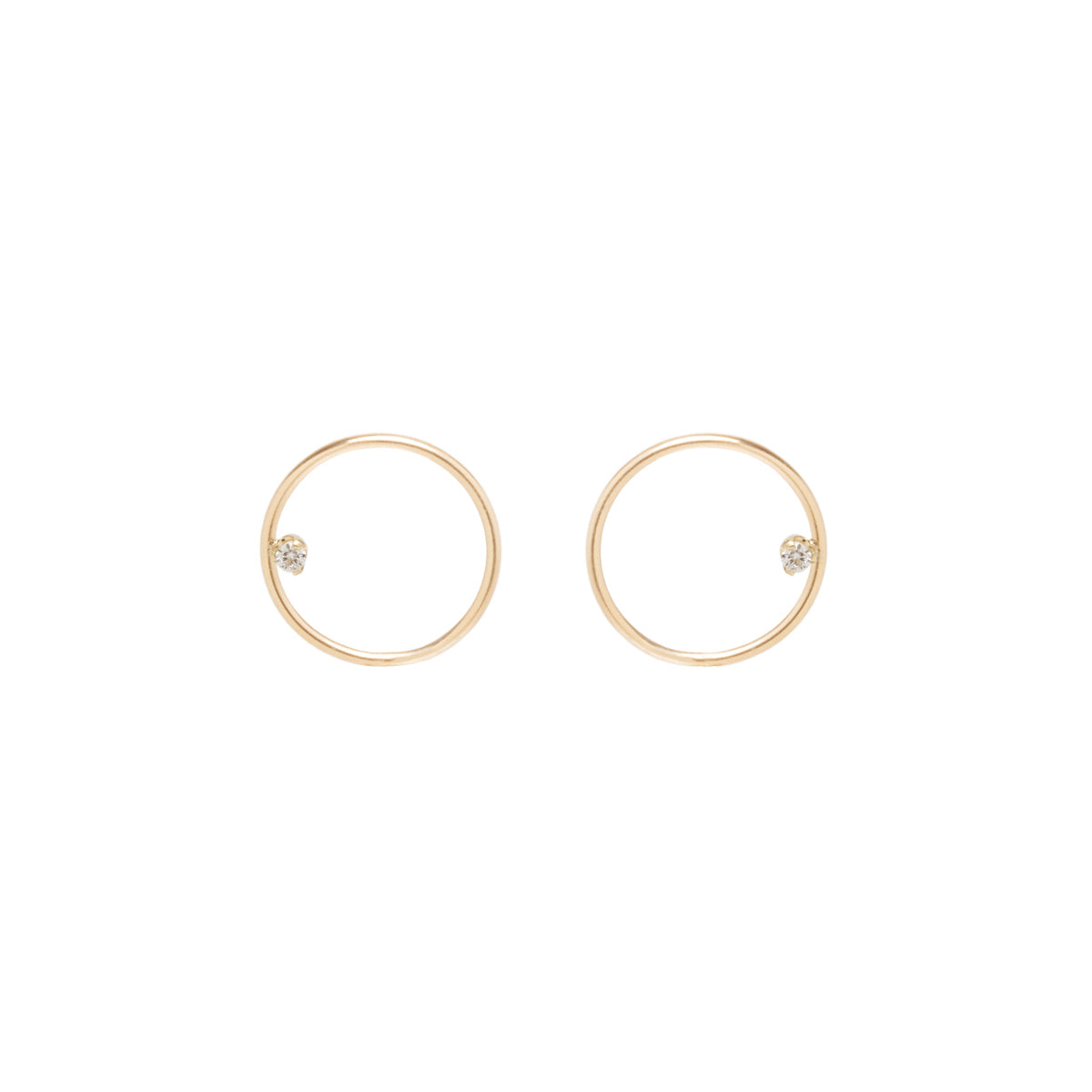 14k small circle post earrings with prong set diamonds