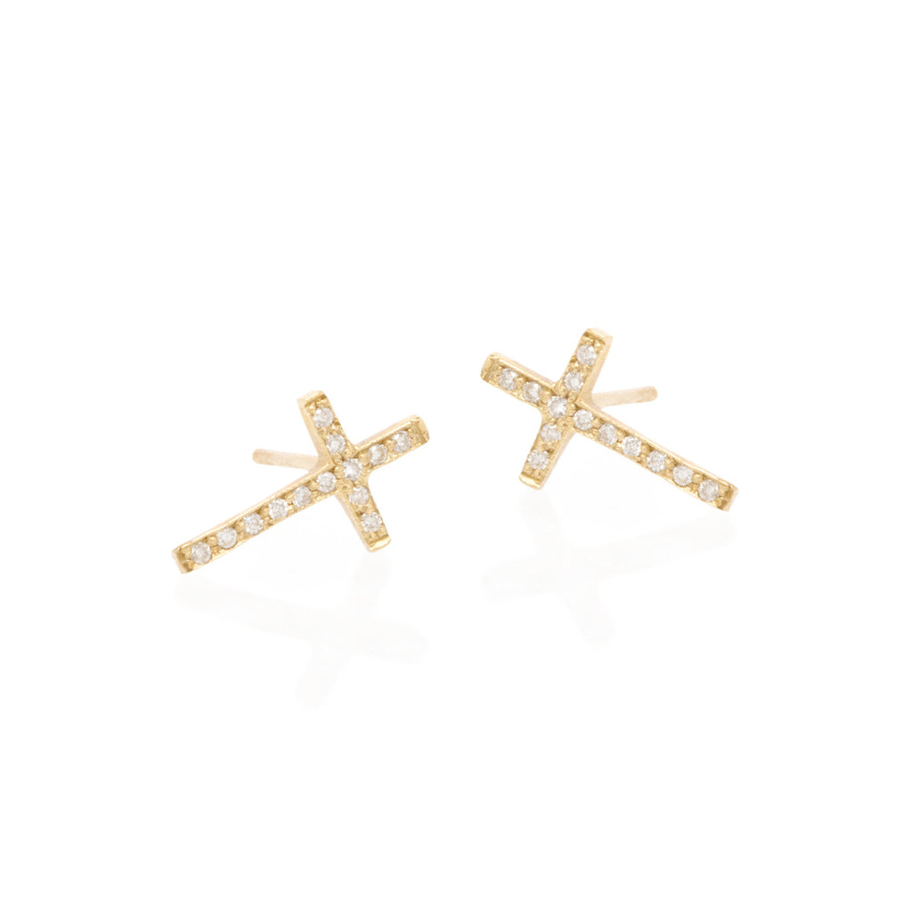 14k pave cross studs