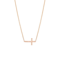 14k pave cross necklace