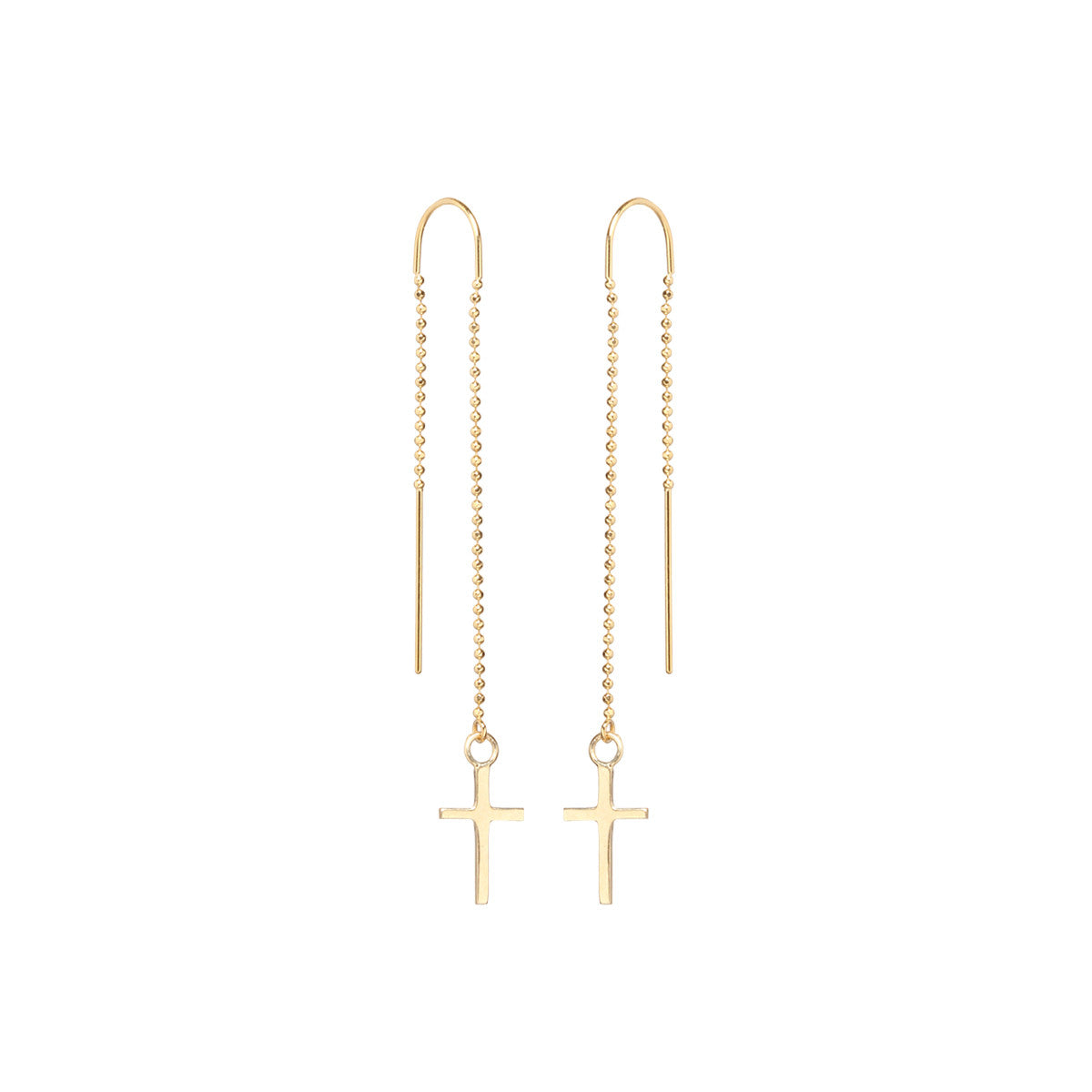 Zoë Chicco 14kt Yellow Gold Cross Threader Earring