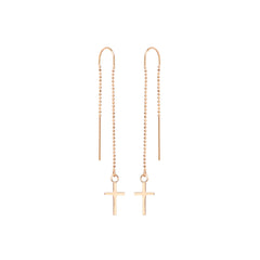 Zoë Chicco 14kt Rose Gold Cross Threader Earring