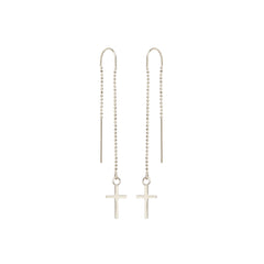 Zoë Chicco 14kt White Gold Cross Threader Earring