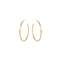 14k princess cut diamond hoops