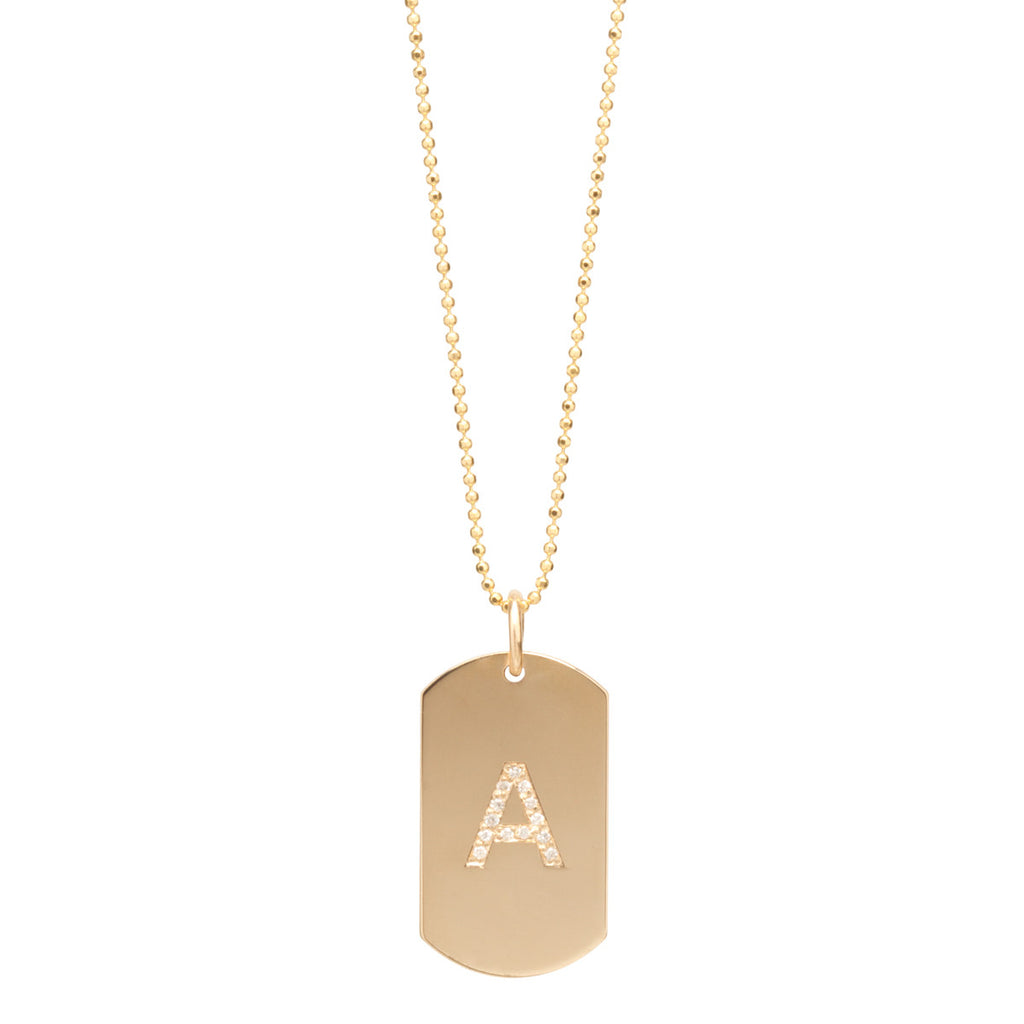 14k small pave initial dog tag necklace