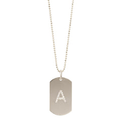 14k medium pave initial dog tag necklace