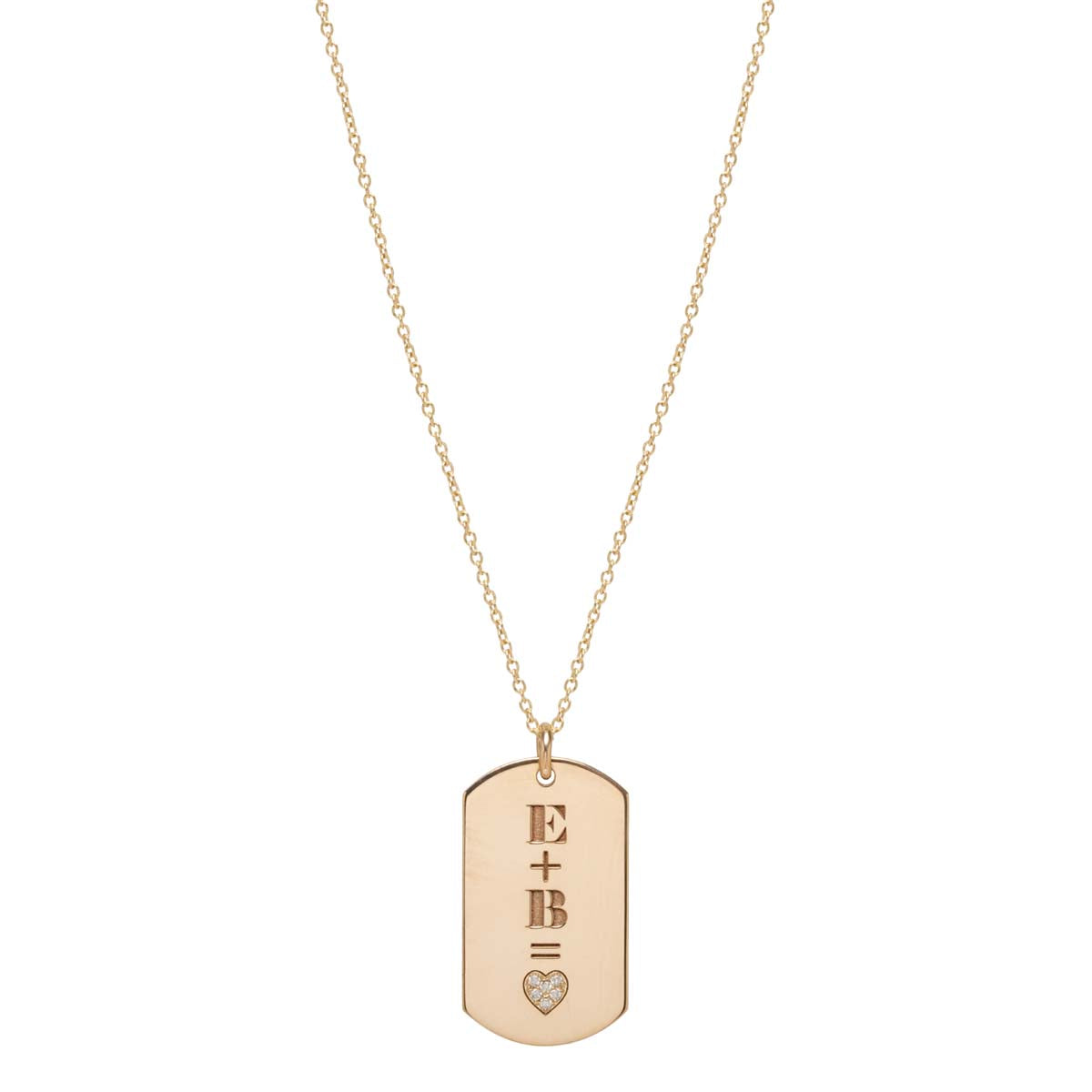14k pave heart equation medium dog tag necklace