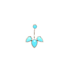 14k turquoise stud with tear stud charm