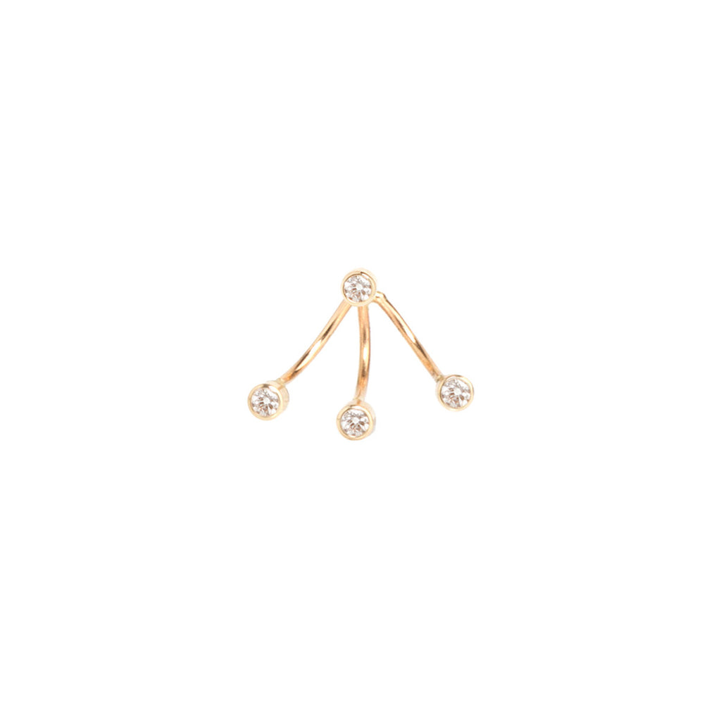 Zoë Chicco 14kt Yellow Gold 3 White Diamond Bezel Stud Charm and White Diamond Earring Set