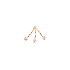 Zoë Chicco 14kt Rose Gold 3 White Diamond Bezel Stud Charm and White Diamond Earring Set