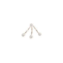 Zoë Chicco 14kt White Gold 3 White Diamond Bezel Stud Charm and White Diamond Earring Set