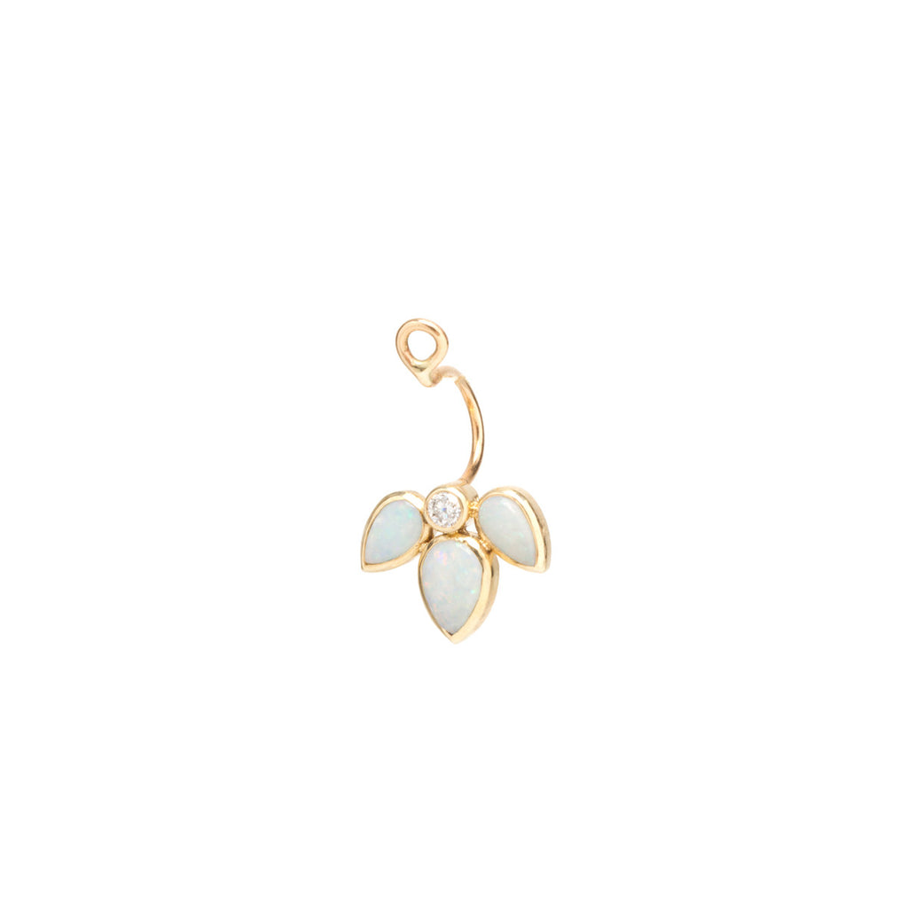 14k opal tear and diamond stud charm