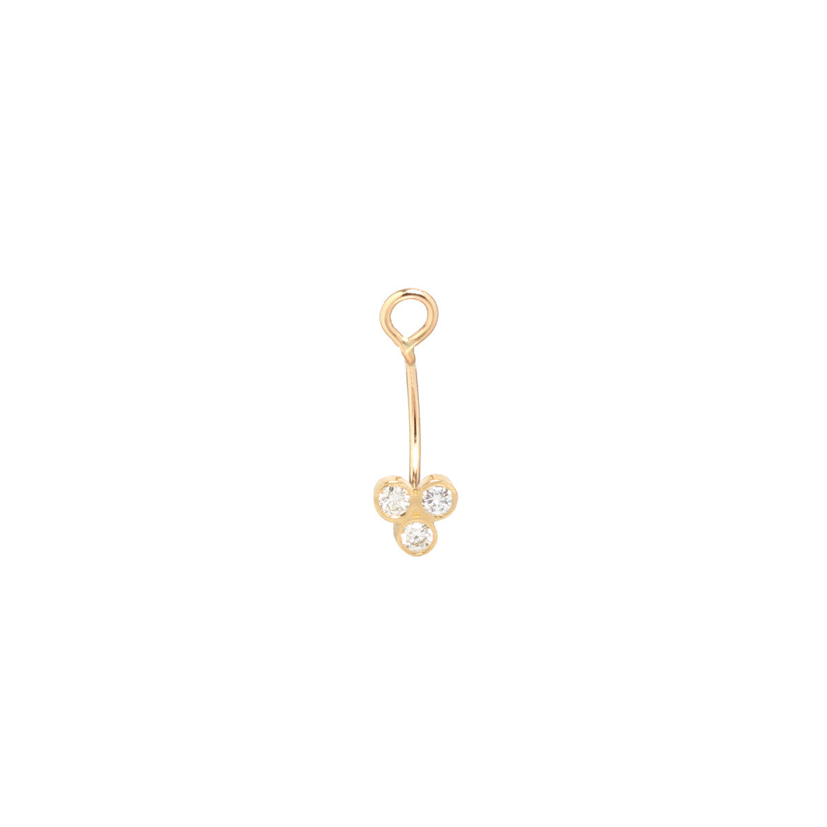 Zoë Chicco 14kt Yellow Gold White Diamond Trio Stud Charm Earring