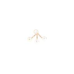Zoë Chicco 14kt Yellow Gold 3 Pearl Stud Charm Earring With Pearl Stud