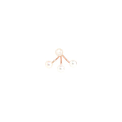 Zoë Chicco 14kt Rose Gold 3 Pearl Stud Charm Earring With Pearl Stud