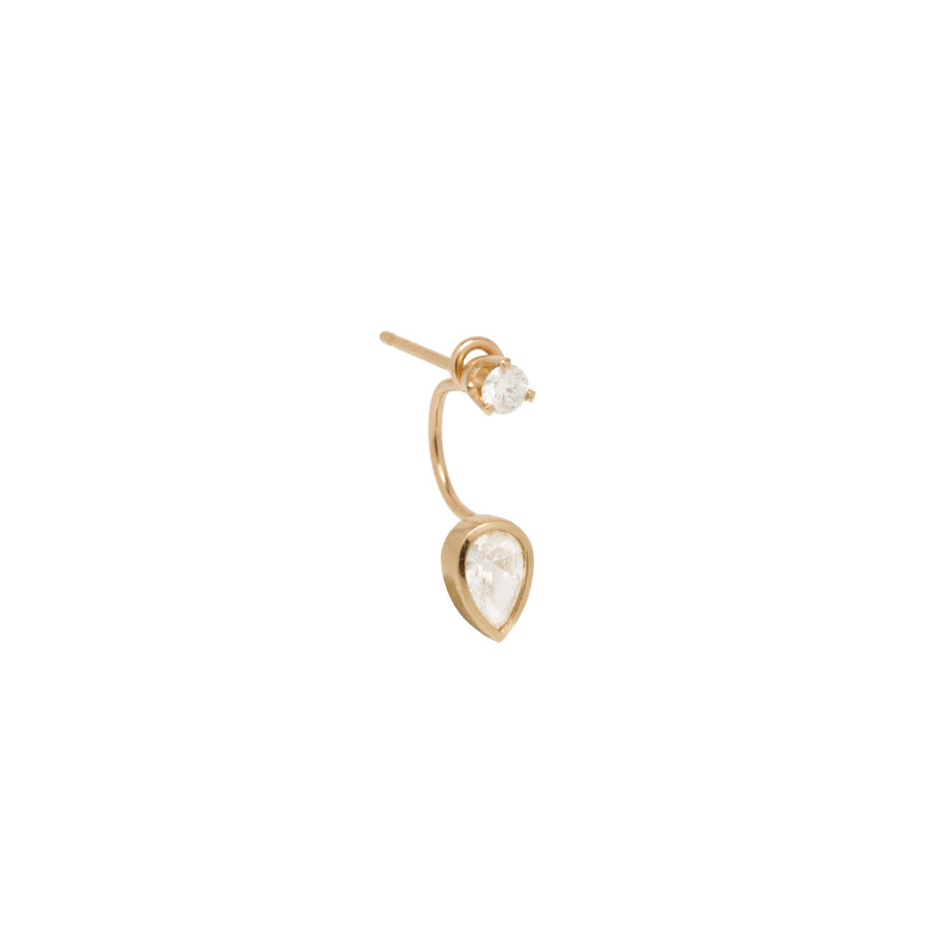 14k pear diamond stud charm with stud