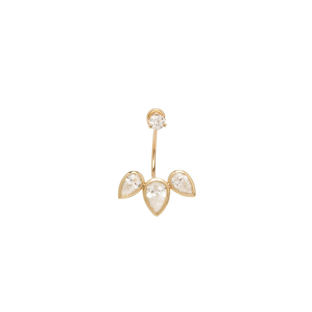 14k 3 pear diamond stud charm with stud
