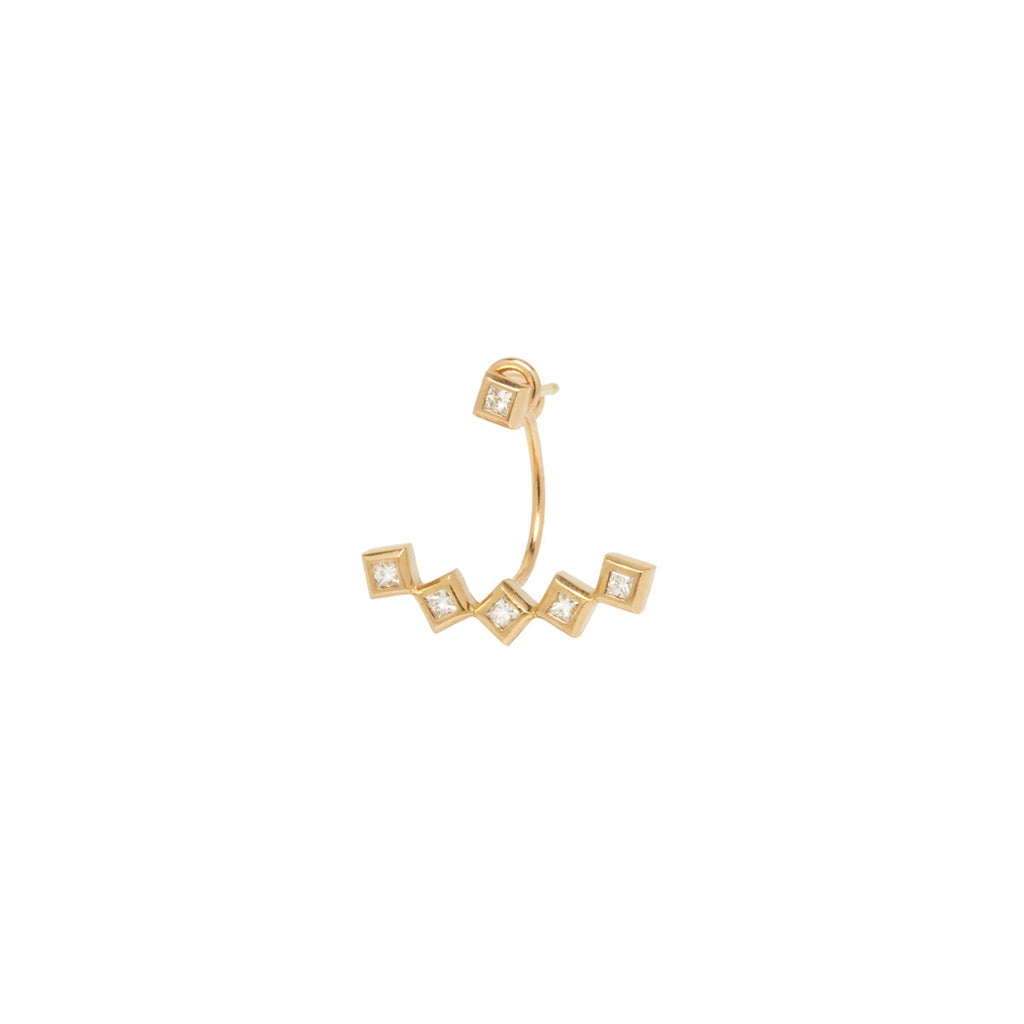 Zoë Chicco 14kt Yellow Gold 5 Princess Cut White Diamond Stud Charm with Stud Earring
