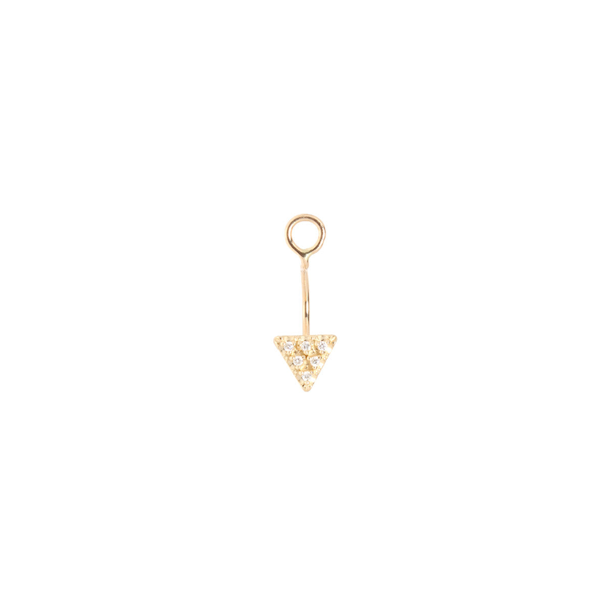 14k pave single triangle stud charm