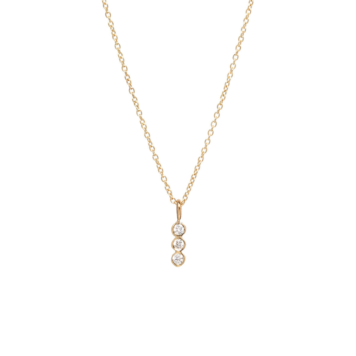 14k 3 vertical bezel diamond necklace