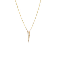 14k pave small long triangle necklace