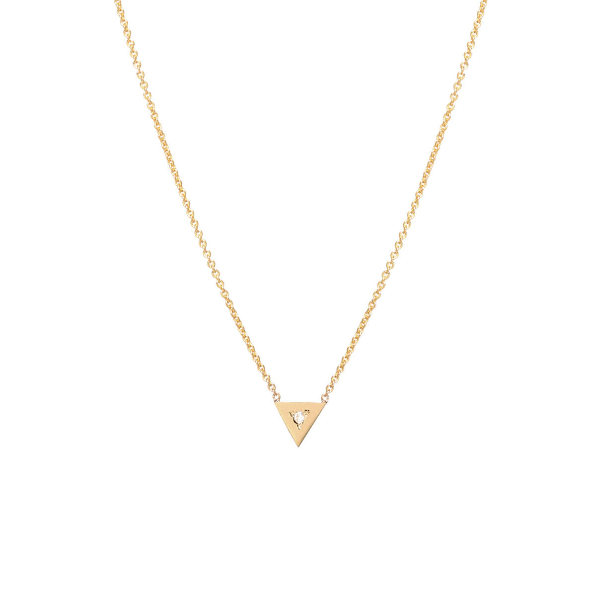14k single diamond triangle necklace