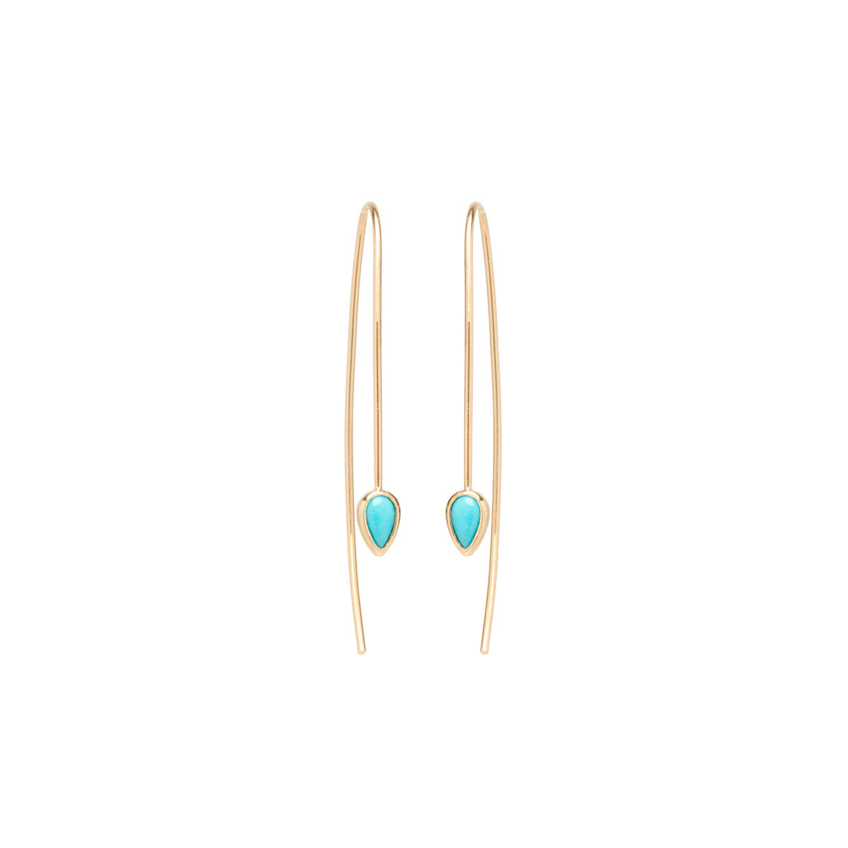 14k turquoise teardrop wire earrings