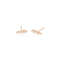 Zoë Chicco 14kt Rose Gold White Diamond Ice Pick Stud Earrings