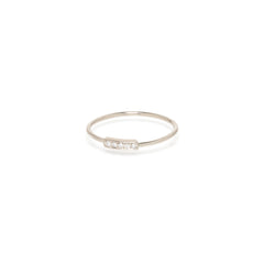 14k small horizontal pave bar ring