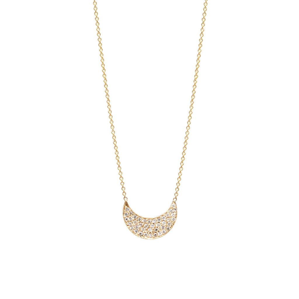 14k pave crescent necklace